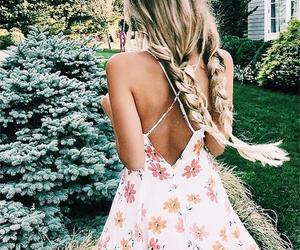 blonde, sommer, and flower dress image