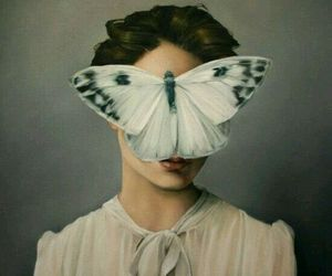 butterfly, art, and woman image