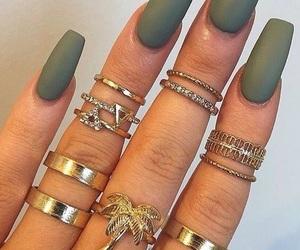 green, nails, and rings image
