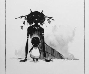 art, black, and child image