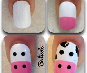 nails, cow, and nail art image
