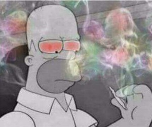 weed, homer, and simpsons image
