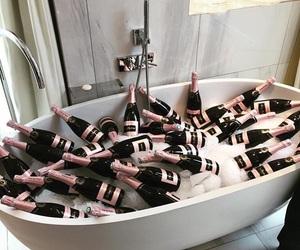 bath, tub, and champagne image