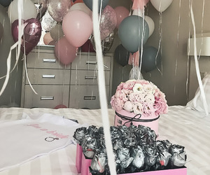 balloons, pink, and roses image