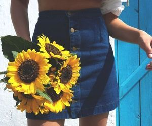 flowers, sunflower, and skirt image