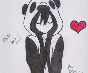 dibujo, panda, and love image