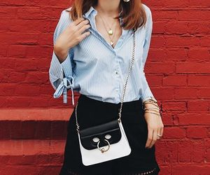 black and white, blogger, and blue shirt image