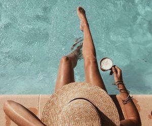 summer, pool, and tan image