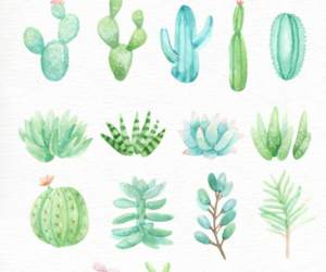 art, watercolor, and cactus image
