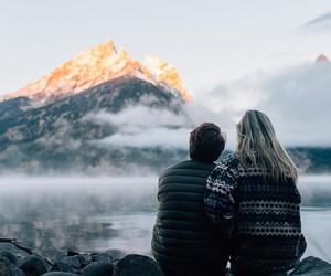 couple, mountains, and travel image
