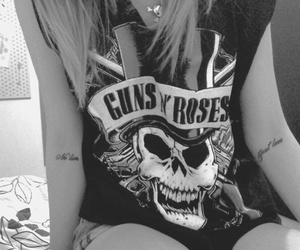 b&w, black and white, and Guns N Roses image