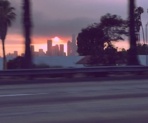 blurry, driving, and sunset image