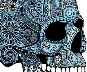 black, blue, and paisley image