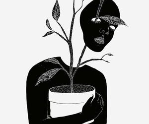 plants, art, and black image