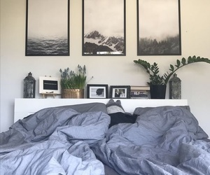 bed, plants, and sheets image