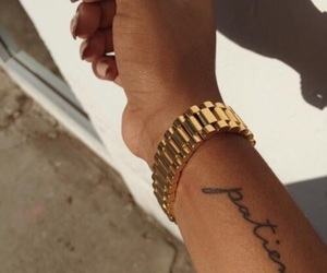 tattoo, nails, and gold image