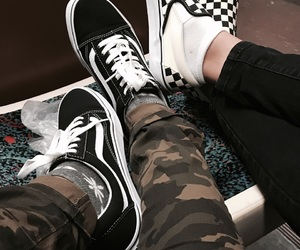 camo, fashion, and checkered vans image
