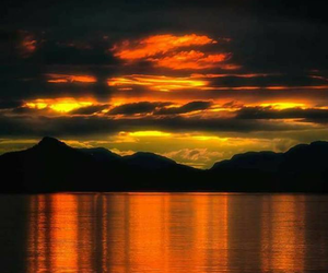 sunset, mountains, and clouds image