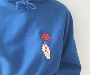 blue, flower, and heart image