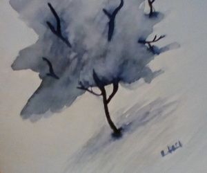aquarelle, peinture, and arbre image