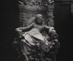 art, black and white, and statue image