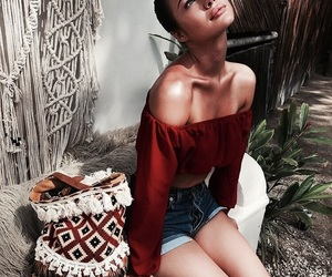 make up, off shoulders, and style image