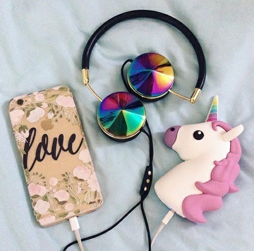 charger, colorful, and headphones image