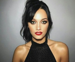black, brunette, and red lips image