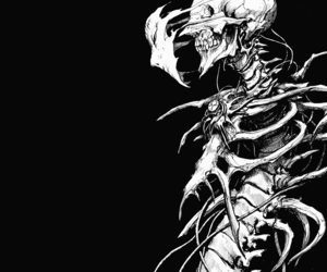 blackandwhite, manga, and skull image