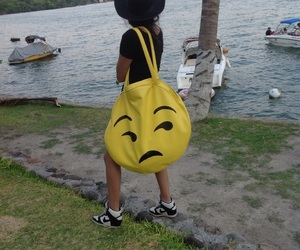 bag, big bag, and emoticon image
