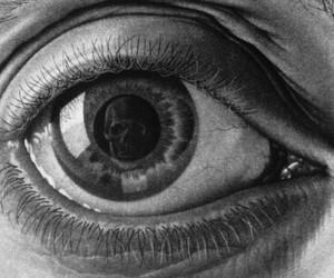 eye, art, and skull image