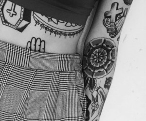 girl, hipster, and tattoo image