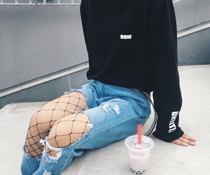 aesthetic, fishnet, and ootd image