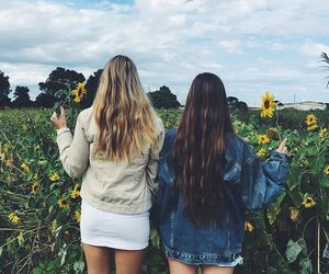 besties, friendship, and sunflower image