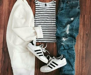 outfit, adidas, and super star image