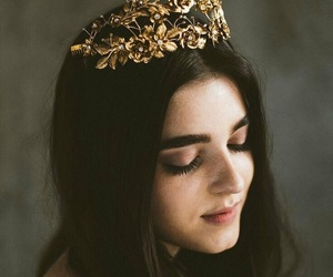 hair, crown, and gold image