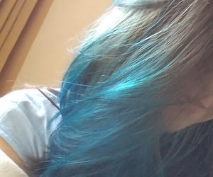 blue hair, colorfull hair, and cabelo colorido image
