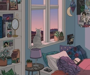 art, cat, and room image
