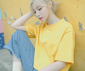 girl, yellow, and korean image