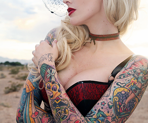 beautiful, sleeve tattoo, and girl with tattoo image