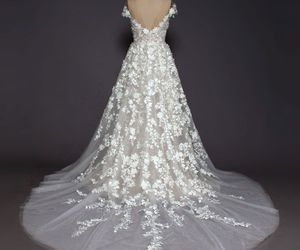 flowers, lace, and wedding dress image