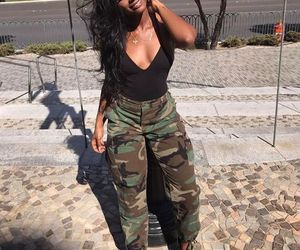 bodysuit, gold chain, and army pants image