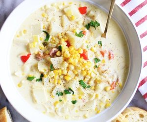bacon, chowder, and corn image
