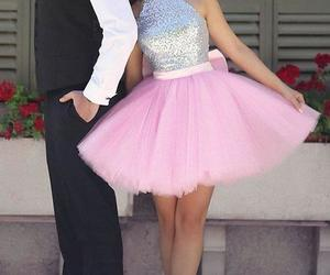 short homecoming dress, pink homecoming dress, and bow party dress image