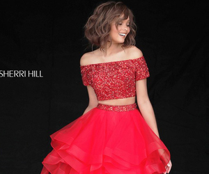 red carpet dress, sherri hill 51272, and tiered two piece dress image