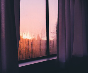 window, rain, and sunset image