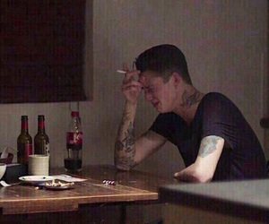 boy, sad, and cigarette image