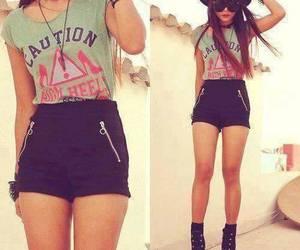 girl, short, and tshirt image