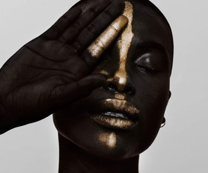 art, black beauty, and gold image