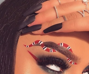 makeup, nails, and gucci image